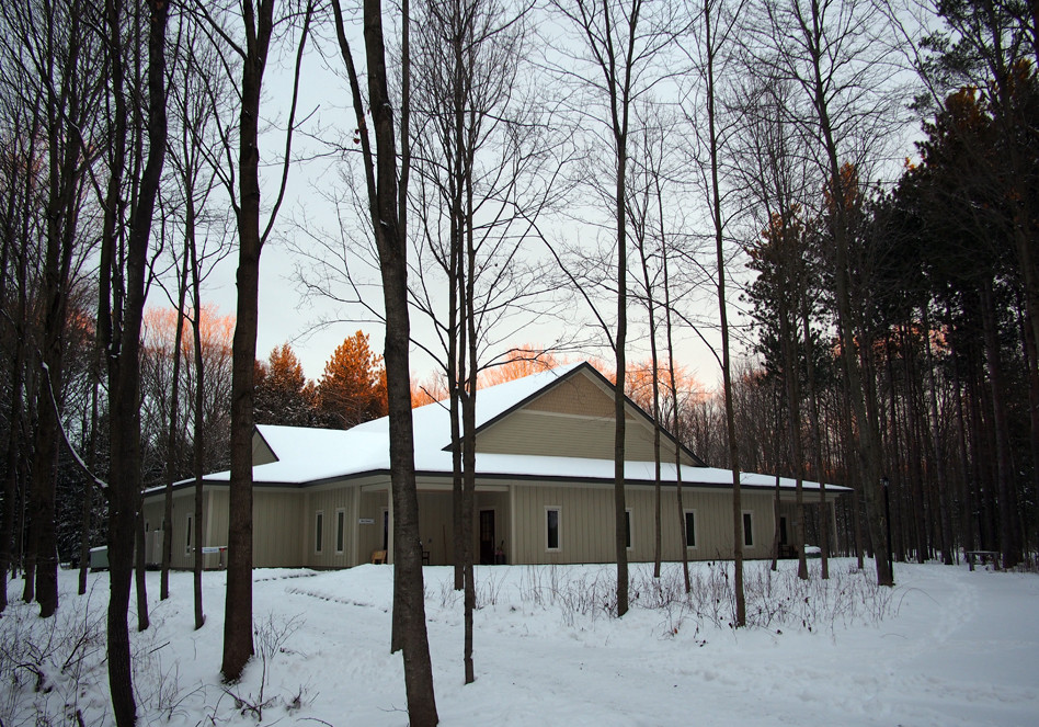 Outside view of the Meditation Hall in winter