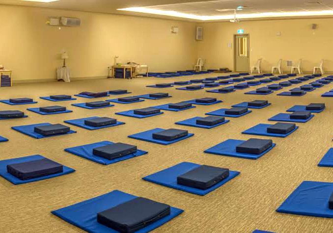 The meditation hall just before a course starts